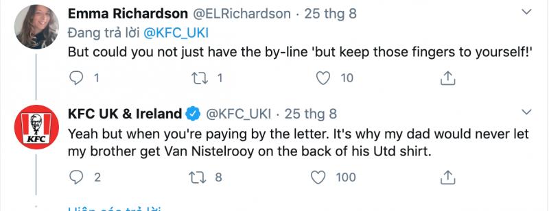 Phần đề nghị của Emma và phản hồi của KFC UK & Ireland trên Twitter